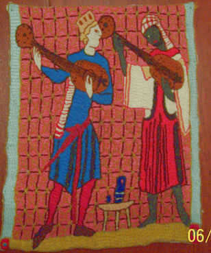 Christian and Moor musicians playing guitar-like instruments